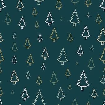 손으로 그린 크리스마스 나무와 함께 완벽 한 패턴입니다. 스케치된 전나무. 겨울 휴가 낙서 요소. 벡터 일러스트 레이 션