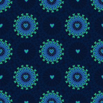 Seamless pattern with hand drawn circle and hearts. ornate floral endless hipster background