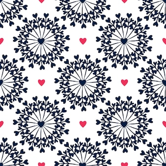 Seamless pattern with hand drawn circles and hearts.