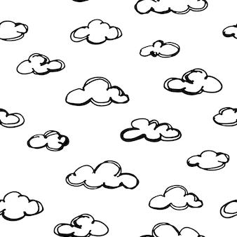 Бесшовный фон с рисованной облака. векторная иллюстрация