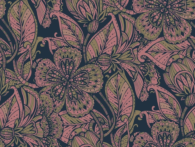Seamless pattern with hand drawn color fancy flowers on dark background