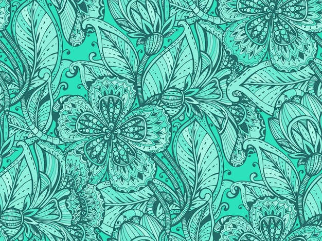 Seamless pattern with hand drawn color fancy flowers on green background