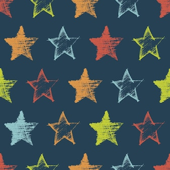 Seamless pattern with hand drawn colorful stars on dark background. abstract grunge texture. vector illustration