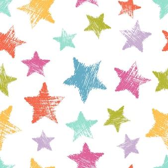 白い背景の上の手描きのカラフルな星とのシームレスなパターン。抽象的なグランジテクスチャ。ベクトルイラスト
