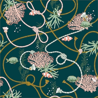 Seamless pattern with hand drawn corals golden, and treasure animal, fishes, ropes and pearls on dark ocean green color