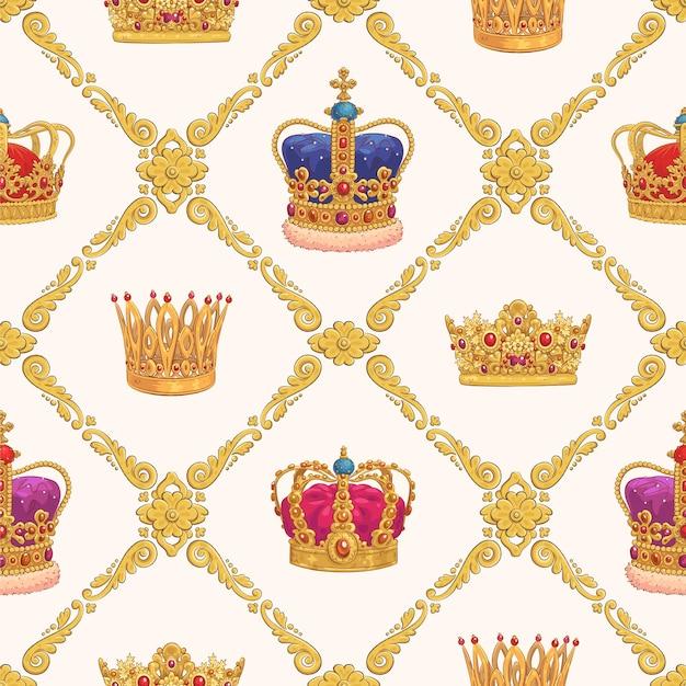 손으로 그린 왕관과 함께 완벽 한 패턴