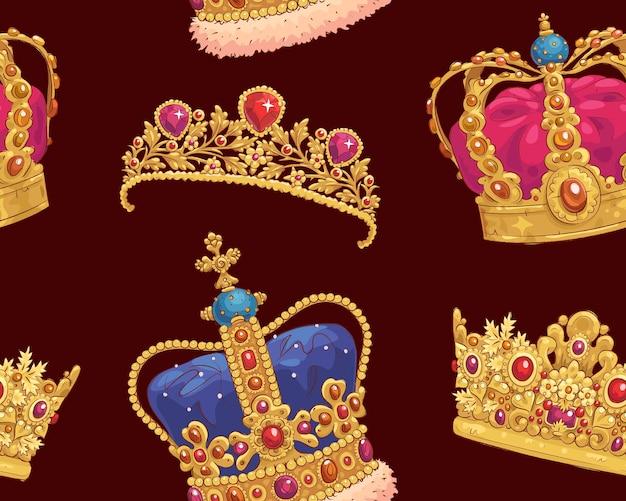 手描きの王冠とのシームレスなパターン