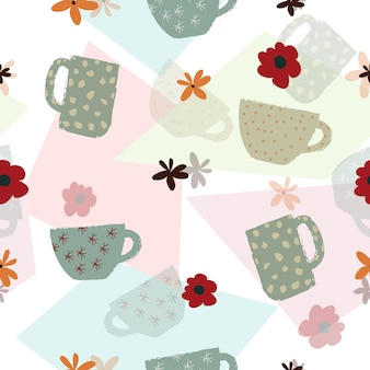 Seamless pattern with hand drawn cup and flower