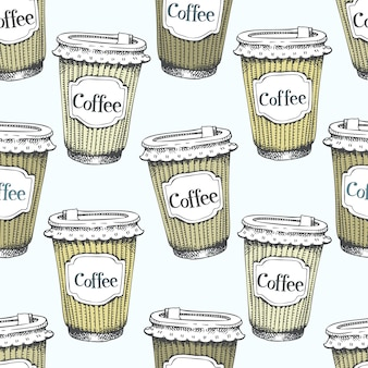 Seamless pattern with hand drawn cups of coffee to go