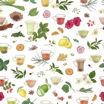 흰색 배경에 차, 감귤류, 향신료, 잎, 꽃, 딸기를 넣은 손으로 그린 컵과 함께 매끄러운 패턴입니다. 섬유 인쇄, 포장지를 위한 빈티지 스타일의 우아한 벡터 삽화.