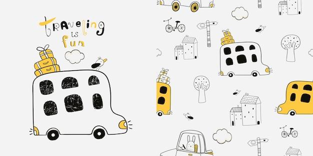 손으로 그린 귀여운 버스가 있는 매끄러운 패턴은 어린이 직물 섬유 보육 벽지에 사용할 수 있습니다.