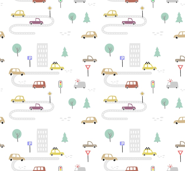 Seamless pattern with hand drawn cute car. auto cartoon