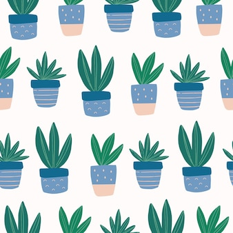 Seamless pattern with hand drawn cute succulent in colorful pot
