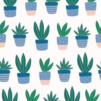 カラフルなポットに手描きのかわいい多肉植物とのシームレスなパターン