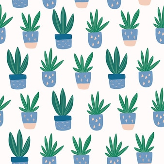 Seamless pattern with hand-drawn cute succulent in pot.