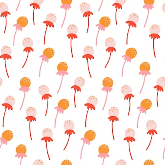 Seamless pattern with hand drawn dandelion flowers.