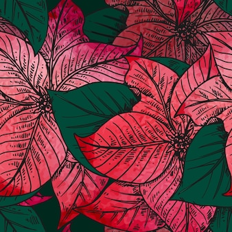 Seamless pattern with hand drawn decorative poinsettia flowers with watercolor texture.