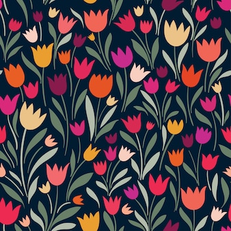 Seamless pattern with hand drawn decorative tulips