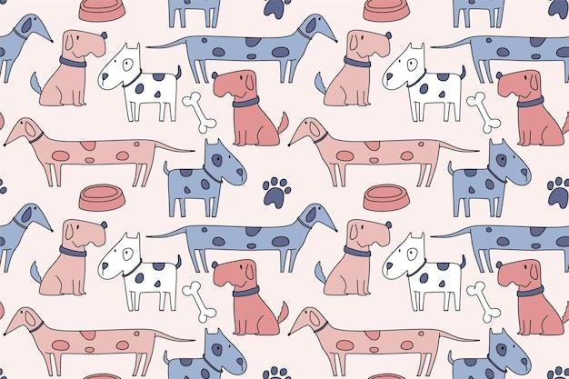 手描きの犬とのシームレスなパターン