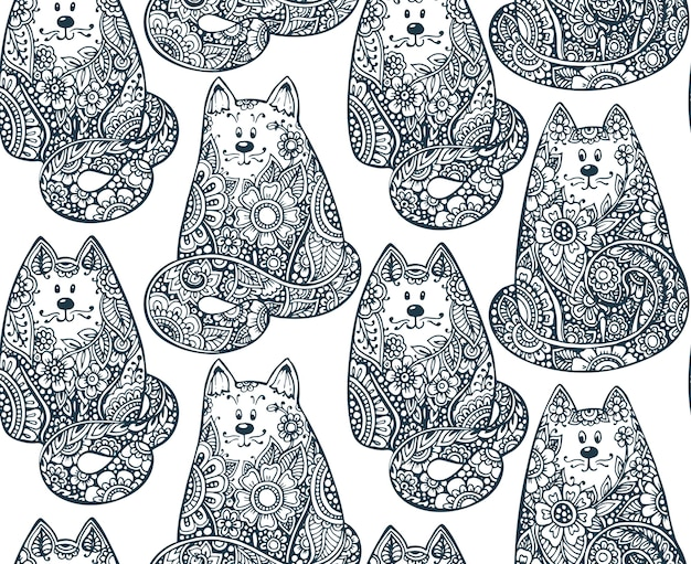 Seamless pattern with hand drawn doodle graphic cats with floral ornament.  illustration for fabric, coloring book, print on different objects