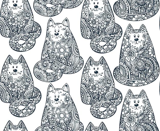 手でシームレスなパターンには、花飾りの落書きグラフィック猫が描かれています。布、塗り絵、さまざまなオブジェクトに印刷するための図