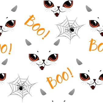 Seamless pattern with hand drawn doodle halloweens element. halloween theme.