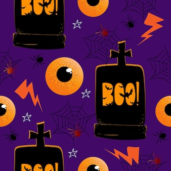Seamless pattern with hand drawn doodle halloweens element on purple backgound. halloween theme.