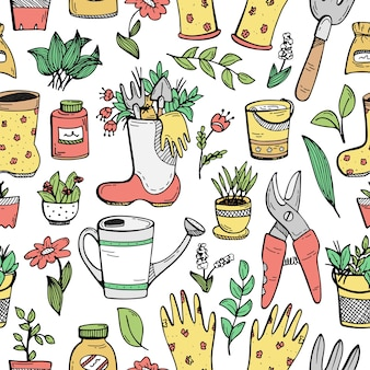 Seamless pattern with hand-drawn doodles about a country house