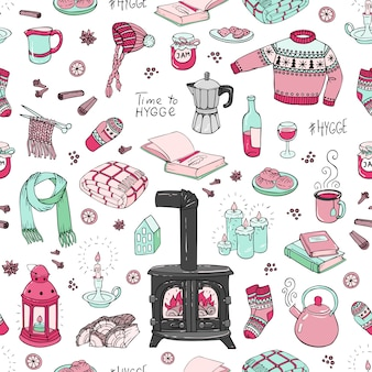 Seamless pattern with hand-drawn doodles hygge.