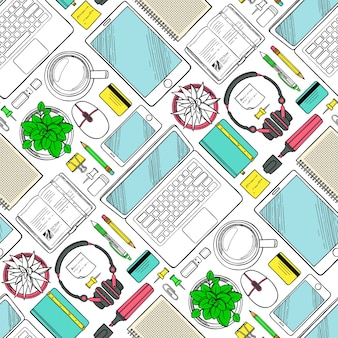 Seamless pattern with hand drawn elements of work and business top view. workplace sketch background