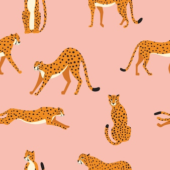 Seamless pattern with hand drawn exotic big cat cheetahs, stretching, running, sitting and walking on pink background.