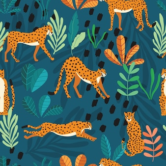Seamless pattern with hand drawn exotic big cat cheetahs, with tropical plants and abstract elements on dark green background.
