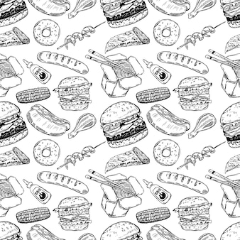 Seamless pattern with hand drawn fast food. burger, donut, hot dog, chinese food.  illustration
