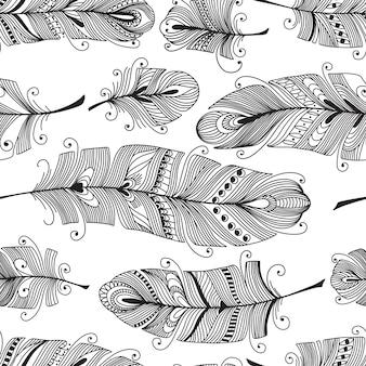 手描きの羽とのシームレスなパターン