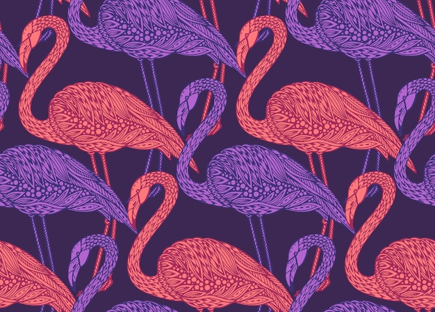 Seamless pattern with hand drawn flamingo birds in ornate fancy doodle style.  endless background.