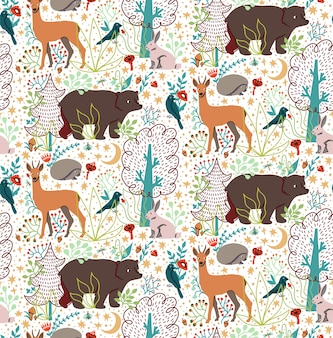 Seamless pattern with hand drawn flat funny animals bear, deer, hedgehog, hare, bird, trees.