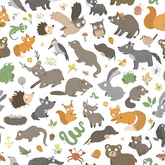 Seamless pattern with hand drawn flat funny little baby animals.