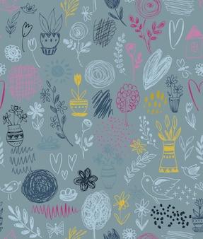 手描きの花の自然のモチーフと春の要素、花、木、鳥とのシームレスなパターン。カラフルな無限のベクトルの背景。