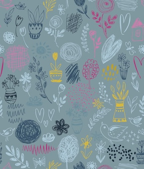 Seamless pattern with hand drawn floral nature motif and spring elements, flowers, trees, birds. colorful endless vector background.