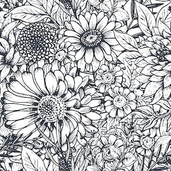 Бесшовный фон с рисованной цветами и растениями в стиле эскиза. монохромный узор