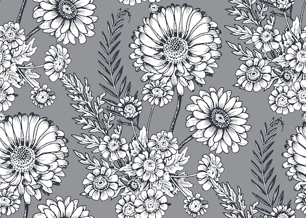 スケッチスタイルで手描きの花や植物とのシームレスなパターン。
