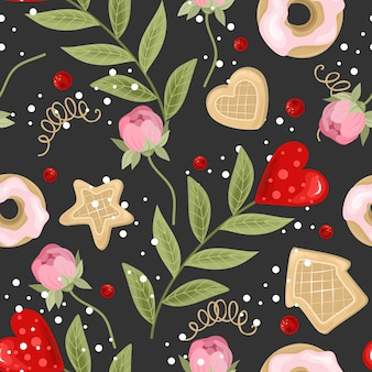 Seamless pattern with hand drawn flowers illustration Premium Vector