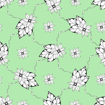 Seamless pattern with hand drawn flowers. seamless pattern can be used for wallpaper, pattern fills, fabric. textile