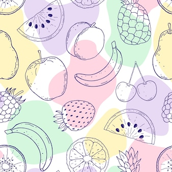 Seamless pattern with hand drawn fruits and abstract shapes on white background