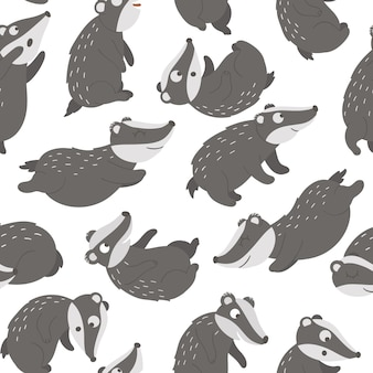 Seamless pattern with hand drawn funny badgers in different poses