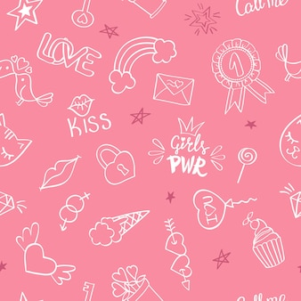 Seamless pattern with hand drawn girly doodles. repeating background with childish sketch design elements