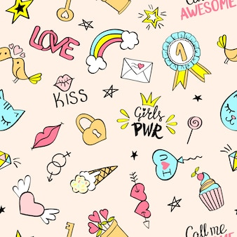 Seamless pattern with hand drawn girly doodles.