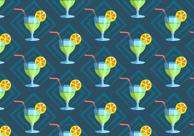 Seamless pattern with hand drawn glass of fresh cocktail