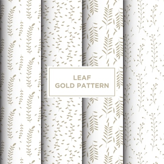 Seamless pattern with hand drawn gold leaf