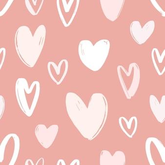 Бесшовный фон с рисованной сердца